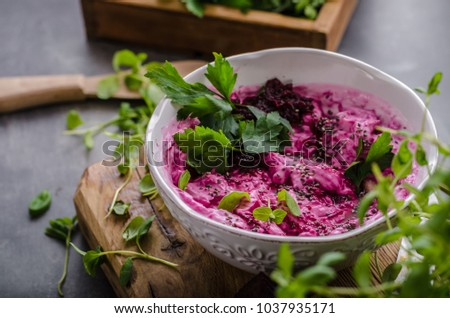 Beet root with cheese and herbs, beautiful and fresh food, chia seeds