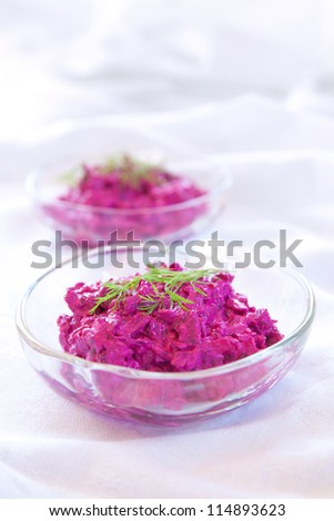 Beet salad made with yogurt, or Tzatziki