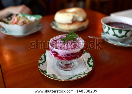 Beet salad with mayonnaise in a russian restaurant