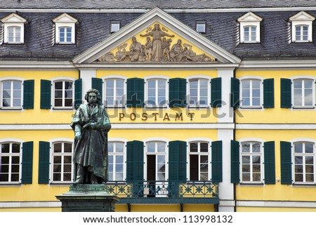 Beethoven statue in Bonn, Germany.  Bonn was the home of Ludwig van Beethoven from the 1790s. The statue is located in M���¸nsterplatz.