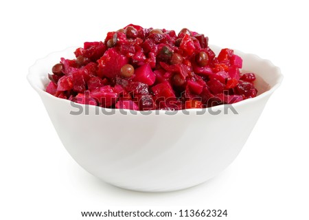 Beetroot salad in bowl on a white background
