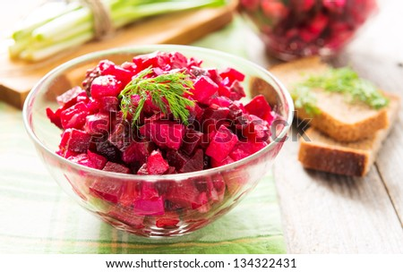 Beetroot salad with carrot and potato