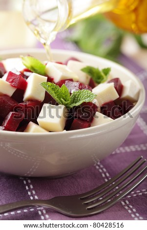 Beetroot salad with feta cheese and peppermint