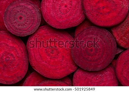 Beetroot slice closeup. Beetroot slice background. Beetroot