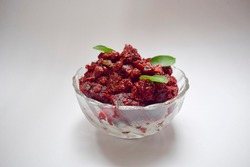 Beetroot vegetable Indian Srilankan Nepali Curry sabji homecooked. Kerala style organic Thoran curry on white background. Vegetarian dish made from boiled beet. South indian curry.