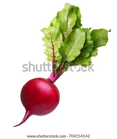 Beetroot with leaves, fresh whole beet isolated on white background