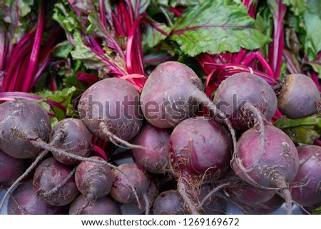 Beets in a row stacked in outdoor market