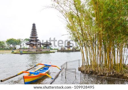 Befog lake and Pura Ulun Danu Temple on Bratan lake, Bali Indonesia