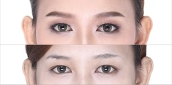 Before After, make up cosmetology on eye, eyeshadow, eyebrowns, and without contact lens, make over eyes part only
