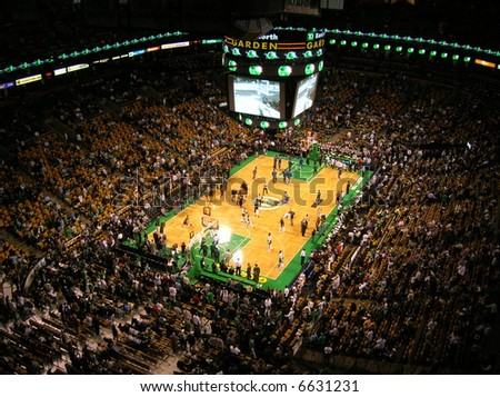 Before an NBA game at Boston's TD Banknorth Garden.