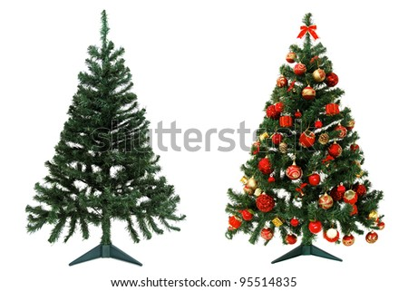 Before and after - Christmas tree isolated on white background