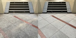 Before and after, cleaning on an old external natural granite floor