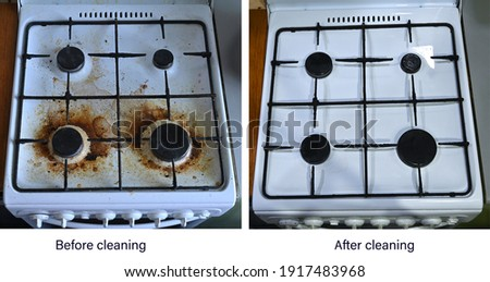 Before and after cleaning. The result of cleaning a very dirty white metal kitchen gas stove. An example of successful operation of cleaning products,  cleaning company services.