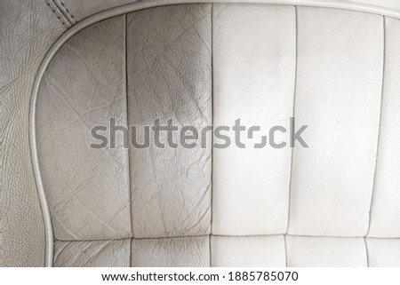 Before and after effect of cleaning car leather seats Foto stock ©