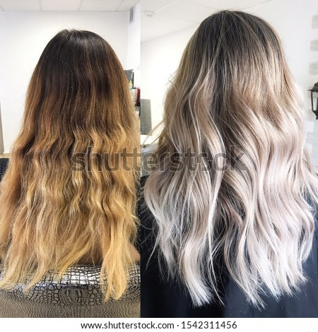 Before and after hair color in cool tones Photo stock ©