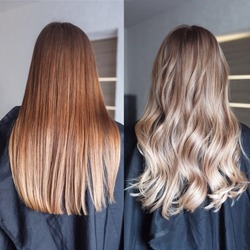 Before and after hair color red hairs and neutral tones