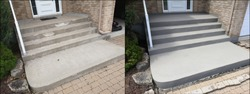 Before and after image example of different steps to properly prepare and resurface an old chipped concrete staircase to a renewed finish.