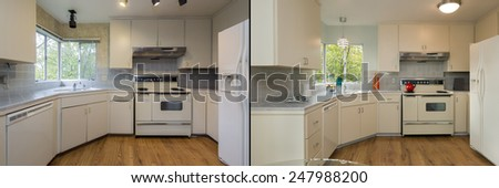 Before and After photo of remodeled of white remodeled vintage kitchen with fitting enthralling cabinets, white marble counter tops, stainless steel appliances and wooden floor.