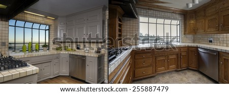 Before and After photo of remodeled of white wooden vintage kitchen with fitting enthralling cabinets, tiled counter tops, stainless steel appliances and view window.