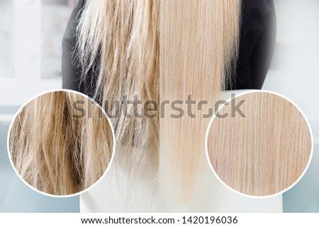 Before and after straightenin treatment. Sick, cut and healthy hair care keratin.