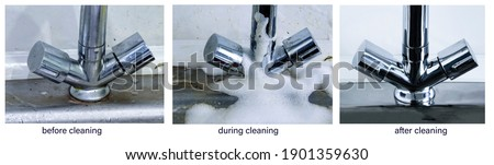 Before cleaning, during, after. The process of cleaning a dirty faucet before and after. An example of successful operation of cleaning chemicals, advertising of cleaning products.