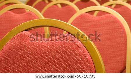 Before Meeting, Closeup of red Chair top in the conference hall