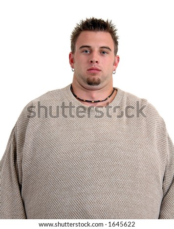 Before picture of an overweight man, see after picture of same model in same sweater
