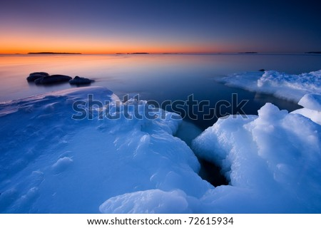 Before sunrise in icy beach