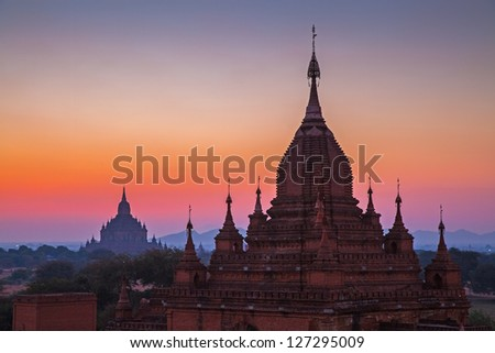 Before sunrise over temples of Bagan in Myanmar