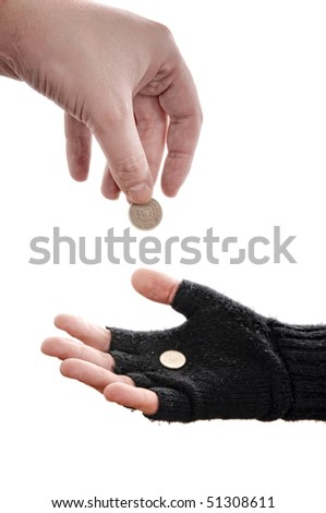 Beggar Man Hand With Coins, Image Is Isolated On White ...  Beggar Man Hand...