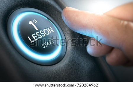 Beginner about to start a car by pressing a starter button where it is written first lesson. Composite image between a hand photography and a 3D background.