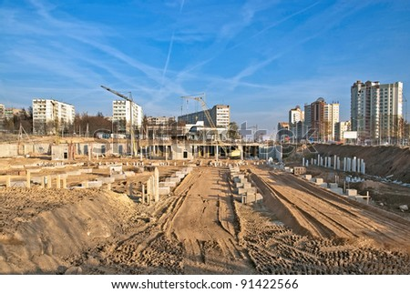Beginning of a big construction in the city