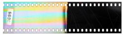 Beginning of 35mm negative filmstrip, first film frames on white background, real scan of filmmaterial with cool rainbow scanning light interferences on the material.