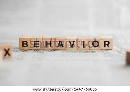 Behavior Word Written In Wooden Cube #1447766885