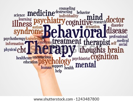 Behavioral Therapy word cloud and hand with marker concept on white background. #1243487800