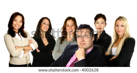 Behind every successful businessman. A man leading a team of business women from diverse background made up of a caucasian, a mediterranean, an Asian and a Japanese woman,  isolated on white.