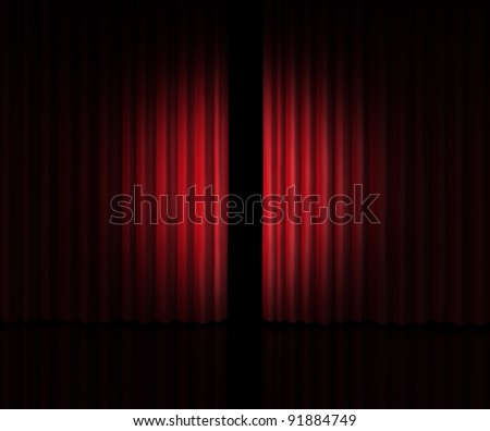 Behind The curtain as a peek into a new announcement on rumors of new products and movies or store opening with red velvet drapes that are slightly opened to look inside private information.