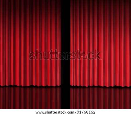 Behind The curtain sneak a peek into a future announcement on rumors of new products and movie performances at the theater or store opening with red velvet drapes that are slightly opened.