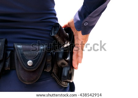behind the police with gun belt on white background