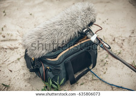 Behind the scene. Equipment for voice and sound recording on outdoor location