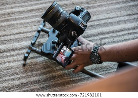 Behind the scenes, taking video with DSLR camera