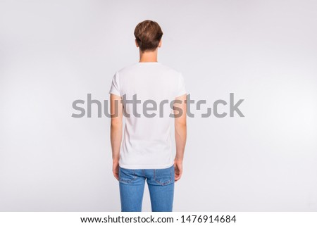 Behind view photo of amazing hairdo guy wear casual outfit isolated on white background