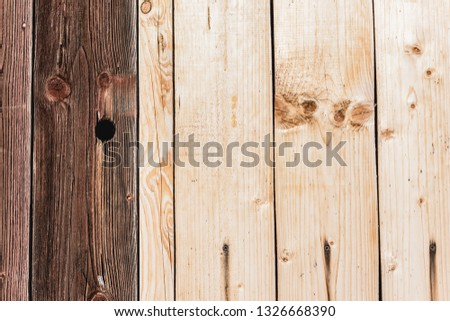 beige and dark brown textured wooden planks with copy space #1326668390