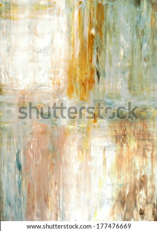 Beige and Green Abstract Art Painting