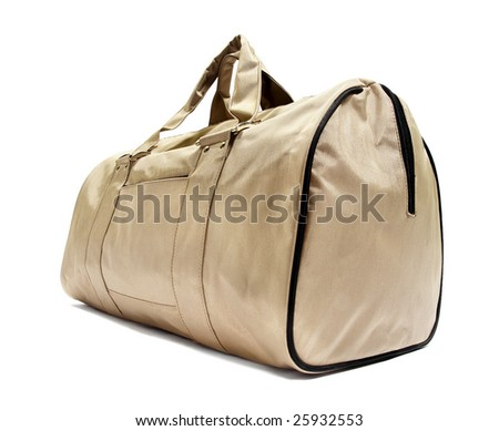 Beige bag. Isolated on white. - stock photo