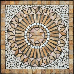 Beige ceramic tile and bordure, can be used indoors and outdoors, handicraft ceramic medallion