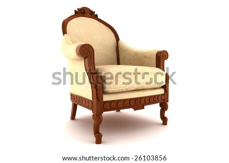 beige classic armchair isolated on white background with clipping path