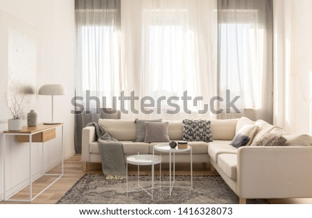 Beige comfortable corner sofa with grey pillows in elegant living room interior with white wall #1416328073