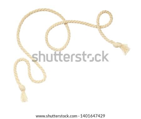 Beige cotton rope corner isolated on whitebackground