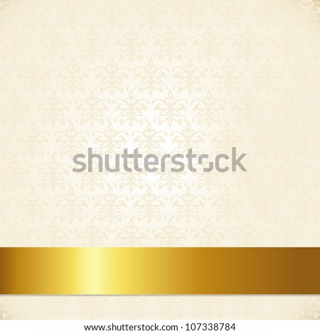 Beige Damask Background With Gold Ribbon - stock photo